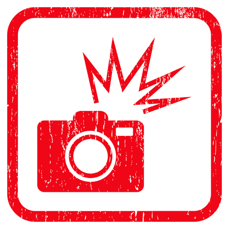 Camera Flash rubber watermark. Vector icon symbol inside rounded rectangle with grunge design and dust texture. Stamp seal illustration. Unclean red ink sign on a white background. Illustration
