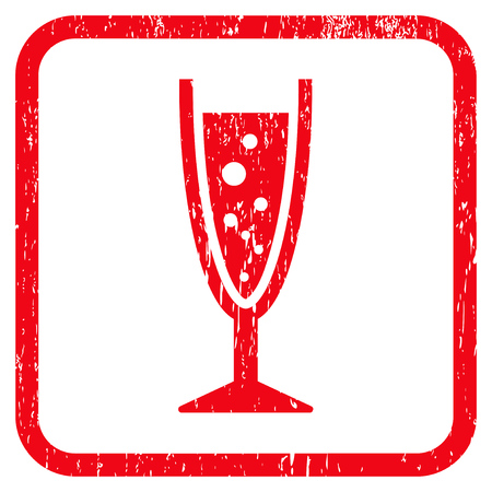aerated: Champagne Glass rubber watermark. Vector icon symbol inside rounded rectangle with grunge design and dirty texture. Stamp seal illustration. Unclean red ink sign on a white background.