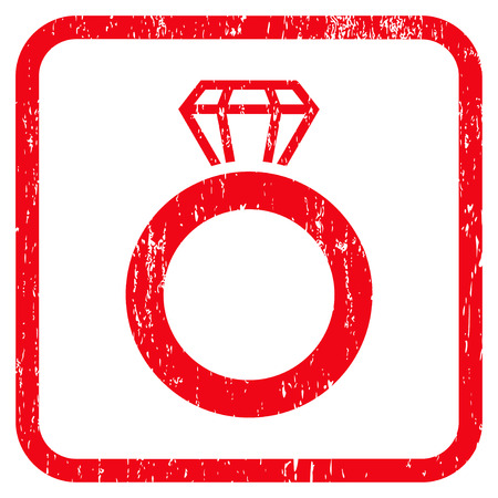 Gem Ring rubber watermark. Vector icon symbol inside rounded rectangular frame with grunge design and dust texture. Stamp seal illustration. Unclean red ink emblem on a white background.