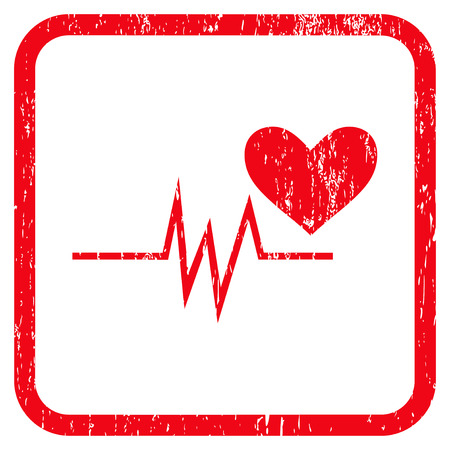 Heart Pulse Signal rubber watermark. Vector pictogram symbol inside rounded rectangle with grunge design and dirty texture. Stamp seal illustration. Unclean red ink sticker on a white background.