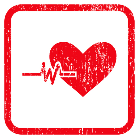 Heart Pulse rubber watermark. Vector icon symbol inside rounded rectangle with grunge design and dust texture. Stamp seal illustration. Unclean red ink emblem on a white background.