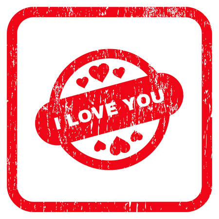 rectangulo: I Love You Stamp Seal rubber watermark. Vector icon symbol inside rounded rectangle with grunge design and unclean texture. Stamp seal illustration. Unclean red ink emblem on a white background.