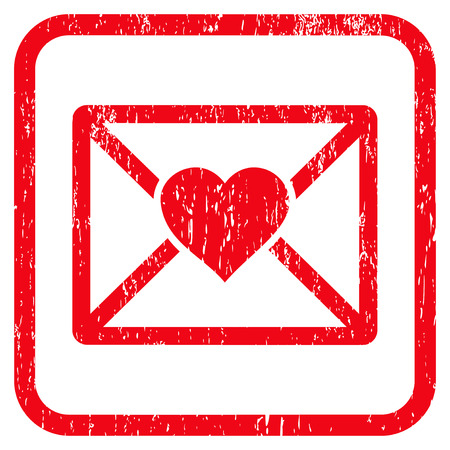 Love Letter rubber watermark. Vector icon symbol inside rounded rectangular frame with grunge design and dirty texture. Stamp seal illustration. Unclean red ink sign on a white background.
