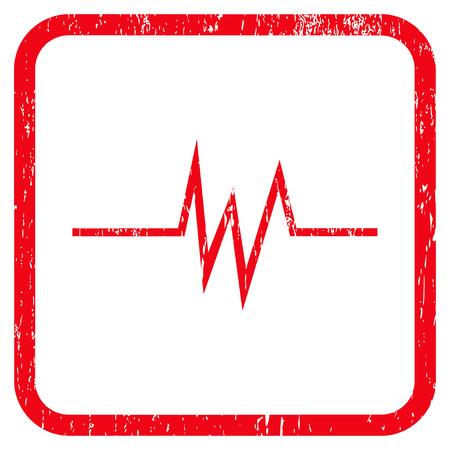 Pulse Signal rubber watermark. Vector icon symbol inside rounded rectangle with grunge design and dust texture. Stamp seal illustration. Unclean red ink emblem on a white background.