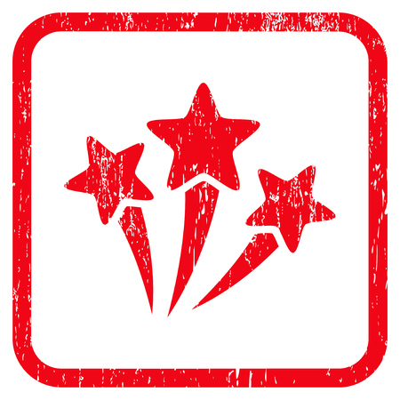 Star Fireworks rubber watermark. Vector icon symbol inside rounded rectangle with grunge design and unclean texture. Stamp seal illustration. Unclean red ink sticker on a white background.