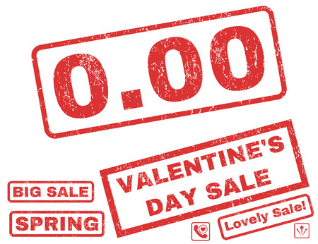 nil: 0.00 text rubber seal stamp watermark with Valentines sale bonus. Tags inside rectangular banner with grunge design and dust texture. Vector signs for trading on a white background.