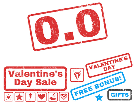 nil: 0.0 text rubber seal stamp watermark with Valentines sale bonus. Captions inside rectangular banner with grunge design and unclean texture. Vector emblems for trading on a white background. Illustration