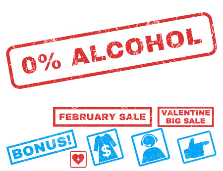 0 Percent Alcohol text rubber seal stamp watermark with Valentines sale bonus. Captions inside rectangular banner with grunge design and dirty texture.
