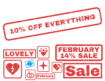 10 Percent Off Everything text rubber seal stamp watermark with Valentines sale bonus. Tags inside rectangular shape with grunge design and scratched texture.