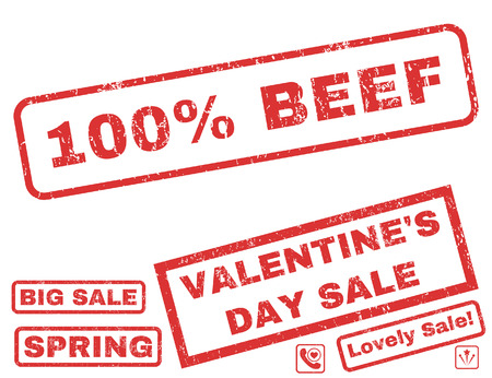 overall: 100 Percent Beef text rubber seal stamp watermark with Valentines sale bonus. Tags inside rectangular shape with grunge design and dirty texture. Vector emblems for trading on a white background. Illustration