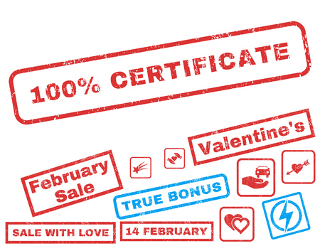 100 Percent Certificate text rubber seal stamp watermark with Valentines sale bonus. Tags inside rectangular banner with grunge design and dust texture.