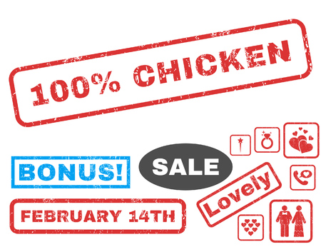 whole chicken: 100 Percent Chicken text rubber seal stamp watermark with Valentines sale bonus. Tags inside rectangular shape with grunge design and dirty texture. Vector signs for trading on a white background.