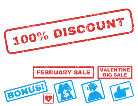 100 Percent Discount text rubber seal stamp watermark with Valentines sale bonus. Captions inside rectangular shape with grunge design and dust texture. Illustration