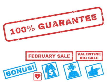 100 Percent Guarantee text rubber seal stamp watermark with Valentines sale bonus. Tags inside rectangular banner with grunge design and unclean texture.