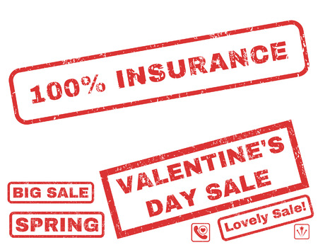 100 Percent Insurance text rubber seal stamp watermark with Valentines sale bonus. Captions inside rectangular banner with grunge design and dust texture. Illustration