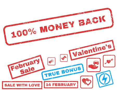 100 Percent Money Back text rubber seal stamp watermark with Valentines sale bonus. Captions inside rectangular shape with grunge design and dust texture.