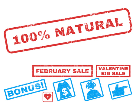 100 Percent Natural text rubber seal stamp watermark with Valentines sale bonus. Captions inside rectangular banner with grunge design and dirty texture.