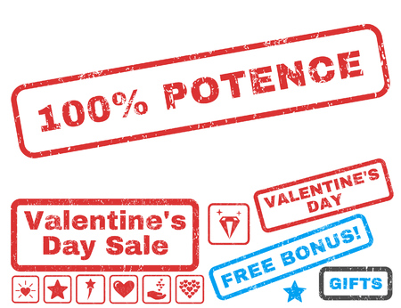100 Percent Potence text rubber seal stamp watermark with Valentines sale bonus. Tags inside rectangular shape with grunge design and dust texture. Vector signs for trading on a white background.
