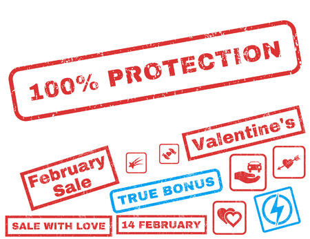 100 Percent Protection text rubber seal stamp watermark with Valentines sale bonus. Captions inside rectangular banner with grunge design and dust texture.
