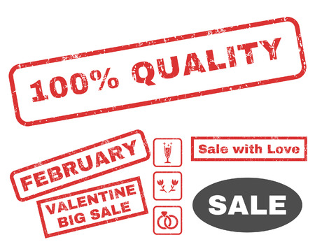 fully: 100 Percent Quality text rubber seal stamp watermark with Valentines sale bonus. Captions inside rectangular shape with grunge design and unclean texture. Illustration