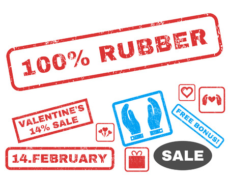 overall: 100 Percent Rubber text rubber seal stamp watermark with Valentines sale bonus. Tags inside rectangular shape with grunge design and dirty texture. Vector signs for trading on a white background. Illustration