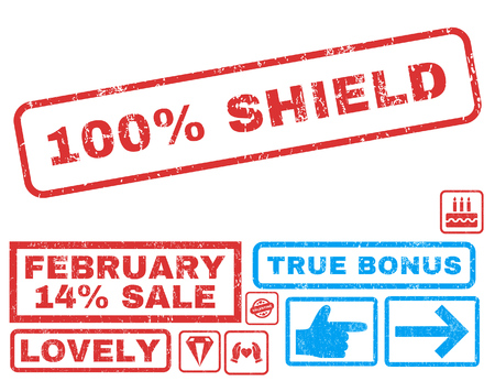overall: 100 Percent Shield text rubber seal stamp watermark with Valentines sale bonus. Captions inside rectangular banner with grunge design and unclean texture.