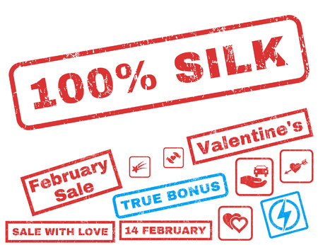 overall: 100 Percent Silk text rubber seal stamp watermark with Valentines sale bonus. Captions inside rectangular banner with grunge design and scratched texture.