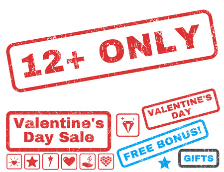 12 Plus Only text rubber seal stamp watermark with Valentines sale bonus. Tags inside rectangular shape with grunge design and dirty texture. Vector emblems for trading on a white background. Illustration