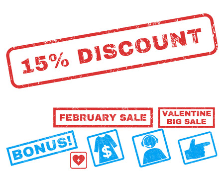 15 Percent Discount text rubber seal stamp watermark with Valentines sale bonus. Tags inside rectangular banner with grunge design and scratched texture.