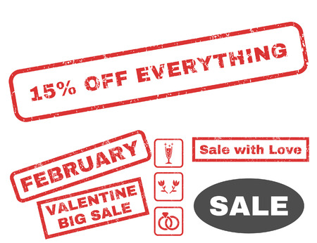 15 Percent Off Everything text rubber seal stamp watermark with Valentines sale bonus. Captions inside rectangular shape with grunge design and scratched texture.