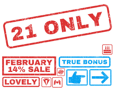 admittance: 21 Only text rubber seal stamp watermark with Valentines sale bonus. Captions inside rectangular shape with grunge design and unclean texture. Vector emblems for trading on a white background.