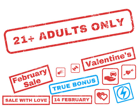 21 Plus Adults Only text rubber seal stamp watermark with Valentines sale bonus. Captions inside rectangular banner with grunge design and unclean texture. Ilustrace