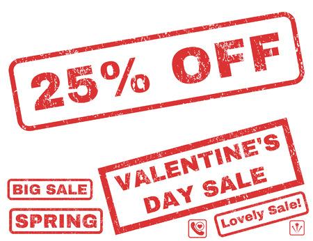 ゴム製シール スタンプ透かしバレンタイン販売ボーナス 25%。グランジ デザインやほこりのテクスチャと長方形バナー内のタグ。白い背景の上の