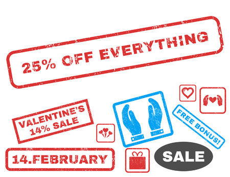 25 Percent Off Everything text rubber seal stamp watermark with Valentines sale bonus. Captions inside rectangular shape with grunge design and dust texture.