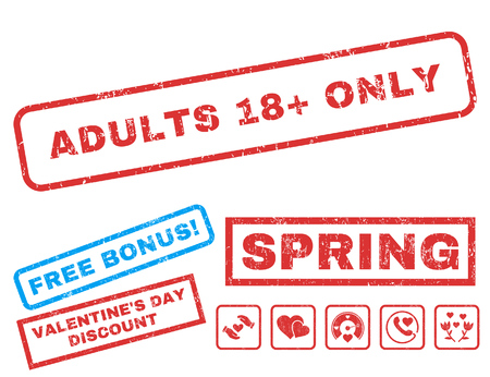 Adults 18 Plus Only text rubber seal stamp watermark with Valentines sale bonus. Tags inside rectangular banner with grunge design and dust texture. Vector stickers for trading on a white background.