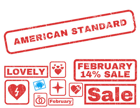 American Standard text rubber seal stamp watermark with Valentines sale bonus. Captions inside rectangular shape with grunge design and dust texture.