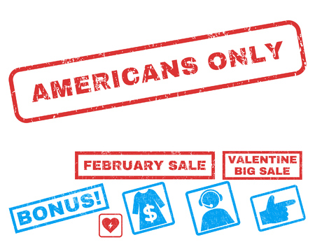 Americans Only text rubber seal stamp watermark with Valentines sale bonus. Tags inside rectangular banner with grunge design and dirty texture. Vector stickers for trading on a white background. Ilustrace
