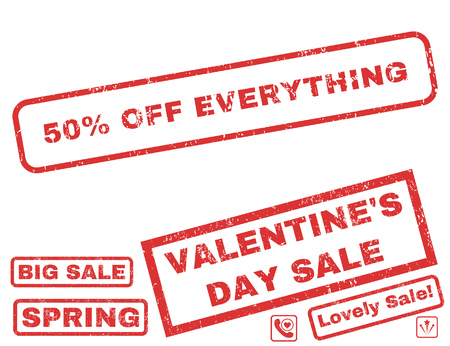 50 Percent Off Everything text rubber seal stamp watermark with Valentines sale bonus. Captions inside rectangular banner with grunge design and dust texture.