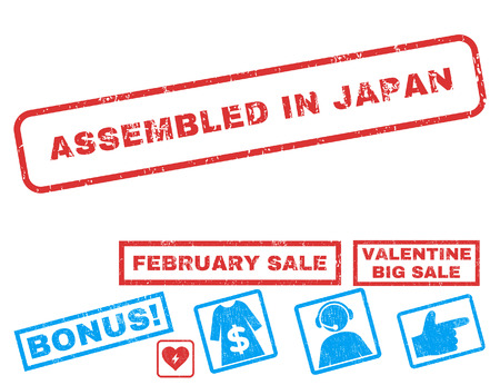 Assembled In Japan text rubber seal stamp watermark with Valentines sale bonus. Tags inside rectangular shape with grunge design and dirty texture. Vector stickers for trading on a white background.