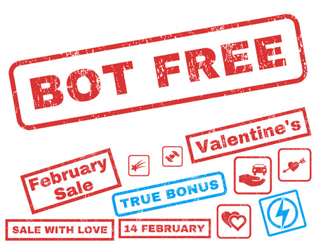 bot: Bot Free text rubber seal stamp watermark with Valentines sale bonus. Captions inside rectangular shape with grunge design and scratched texture. Vector stickers for trading on a white background.