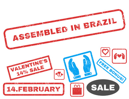 Assembled In Brazil text rubber seal stamp watermark with Valentines sale bonus. Captions inside rectangular banner with grunge design and dust texture. Illustration