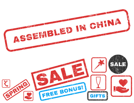 Assembled In China text rubber seal stamp watermark with Valentines sale bonus. Captions inside rectangular banner with grunge design and unclean texture. Illustration