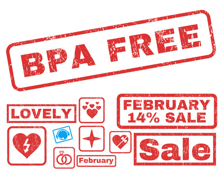 Bpa Free text rubber seal stamp watermark with Valentines sale bonus. Tags inside rectangular banner with grunge design and scratched texture. Vector emblems for trading on a white background.