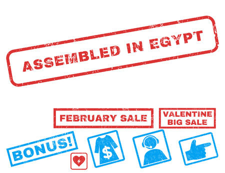 Assembled In Egypt text rubber seal stamp watermark with Valentines sale bonus. Captions inside rectangular banner with grunge design and scratched texture. Ilustrace