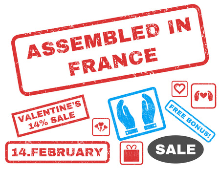 Assembled In France text rubber seal stamp watermark with Valentines sale bonus. Tags inside rectangular shape with grunge design and dust texture. Vector emblems for trading on a white background.