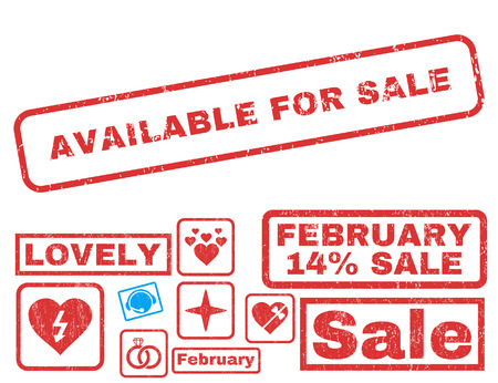 achievable: Available For Sale text rubber seal stamp watermark with Valentines sale bonus. Captions inside rectangular shape with grunge design and unclean texture.