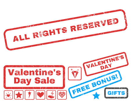 All Rights Reserved text rubber seal stamp watermark with Valentines sale bonus. Captions inside rectangular shape with grunge design and dirty texture.