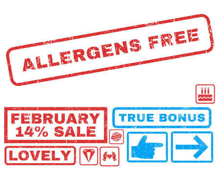 Allergens Free text rubber seal stamp watermark with Valentines sale bonus. Tags inside rectangular banner with grunge design and unclean texture. Vector stickers for trading on a white background.