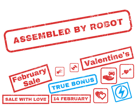 Assembled By Robot text rubber seal stamp watermark with Valentines sale bonus. Tags inside rectangular banner with grunge design and dust texture. Vector stickers for trading on a white background. Illustration