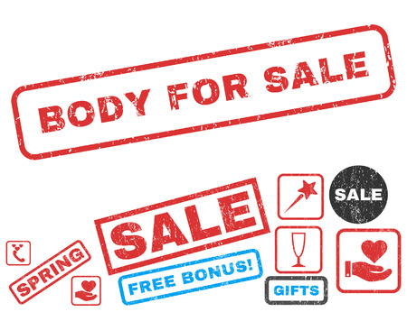 Body For Sale text rubber seal stamp watermark with Valentines sale bonus. Tags inside rectangular banner with grunge design and unclean texture. Vector emblems for trading on a white background.